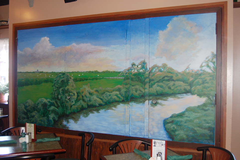River Shannon Mural at the Limerick Pub, artists Carolyn Pie