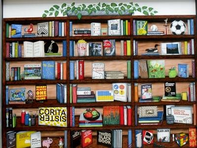 Library Bookshelf Mural