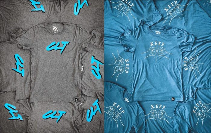 Blue and gray t-shirts