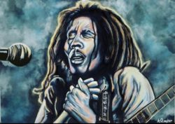 painting of regae singer