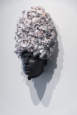 artwork face with beehive hair