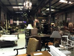 inside furniture store with lamps and chairs