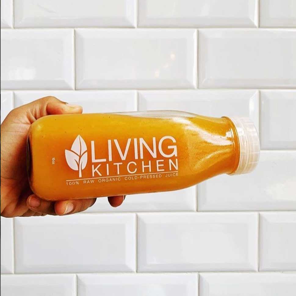 bottle of Living Kitchen orange juice