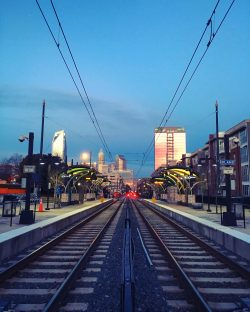 Train track with city in background