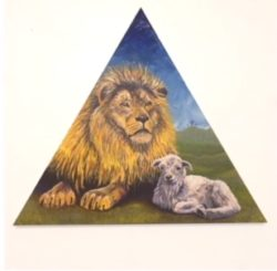 art lion and lamb in triangle
