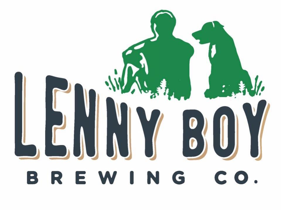 Lenny Boy Logo with Dog and Man in green