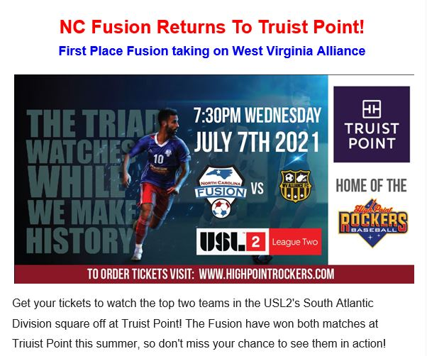 NC Fusion Returns to Truist Point