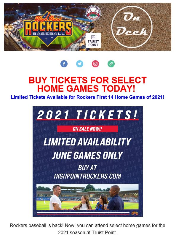 2021 Rockers Tickets - Limited Availability - June Games ONLY