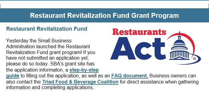 Restaurant Revitalization Fund Grant Program