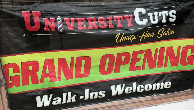 University Cuts Grand Opening Sign 2018 - Hillsborough Street