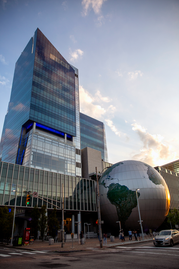 NC Museum of Natural Sciences globe and SECU tower