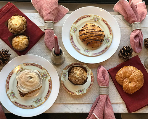 Muffins, croissants, and sweet treats