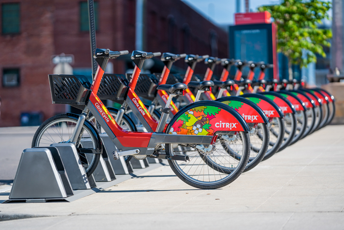 Citrix Cycle bikeshare bikes at a docking station