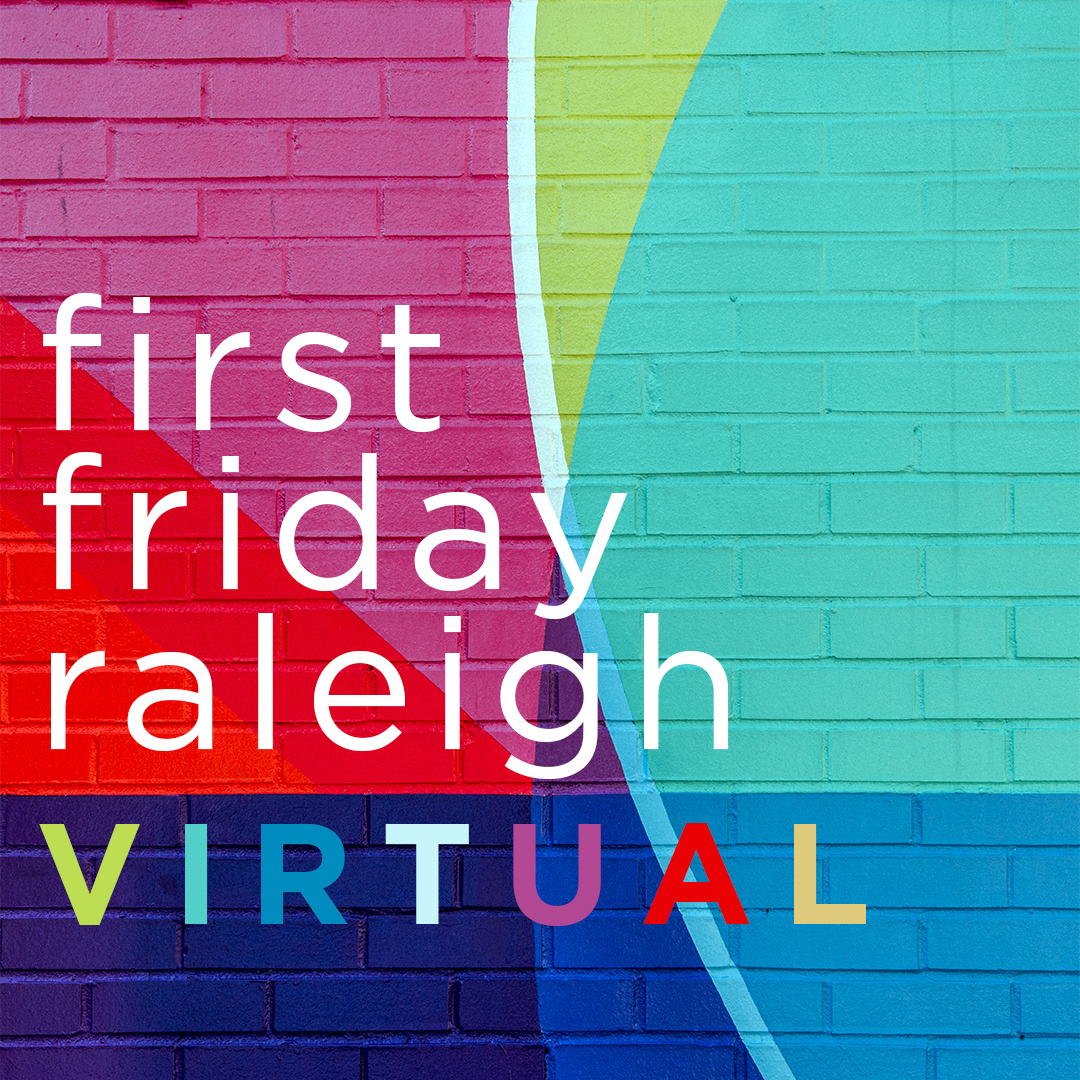 Virtual First Friday graphic against Marbles wall