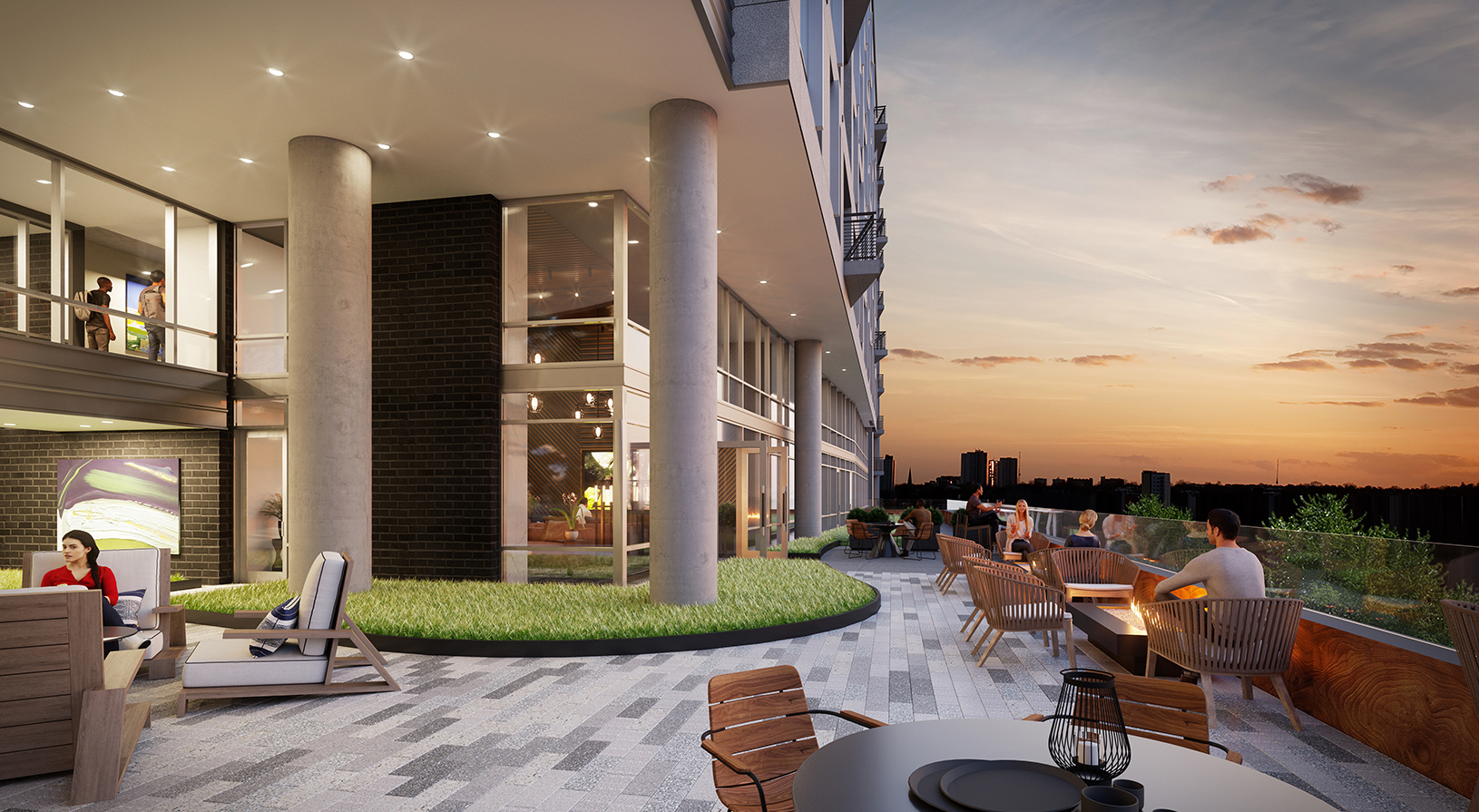 Peace Raleigh Apartments terrace rendering