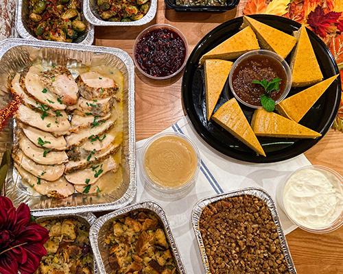 Turkey, peas, pie, and cranberry sauce