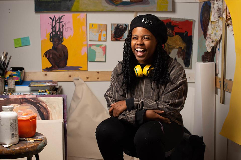 Photograph of artist Alexandria Couch in her studio
