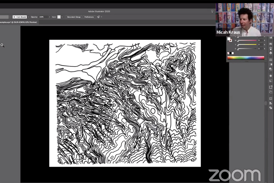 Screenshot of presentation of topographic artwork from Micah Kraus for Dreamers and Doers interview