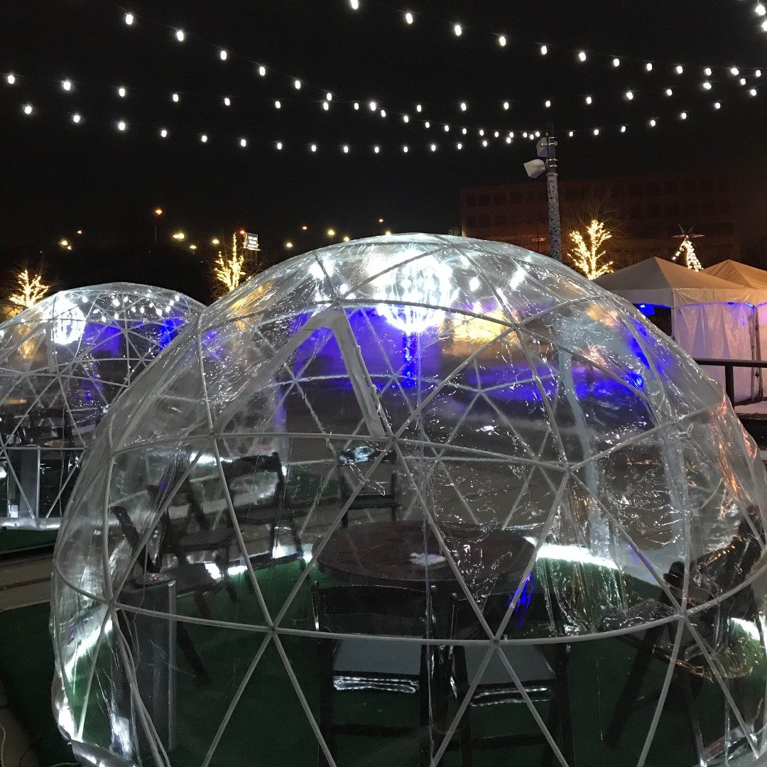 Photograph of rentable outdoor igloos in Lock 3, Akron, Ohio