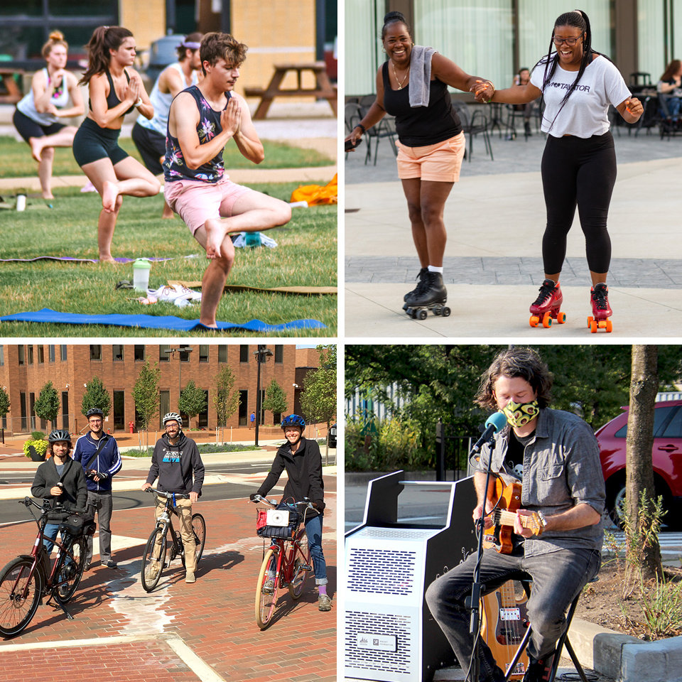 Photos of downtown visitors engaged in various activities (biking, yoga, rollerskating, music)