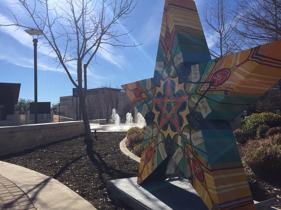 Star at Levitt public art piece in downtown Arlington TX