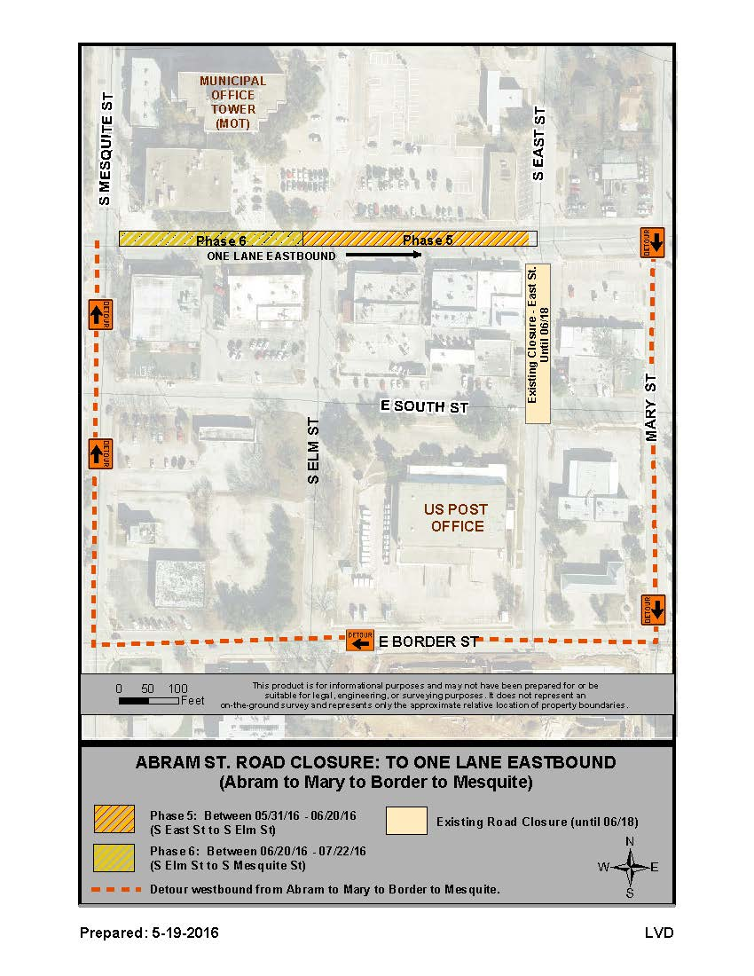 Road closures in Downtown Arlington June/July