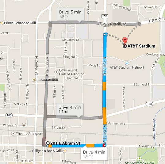 map to att stadium