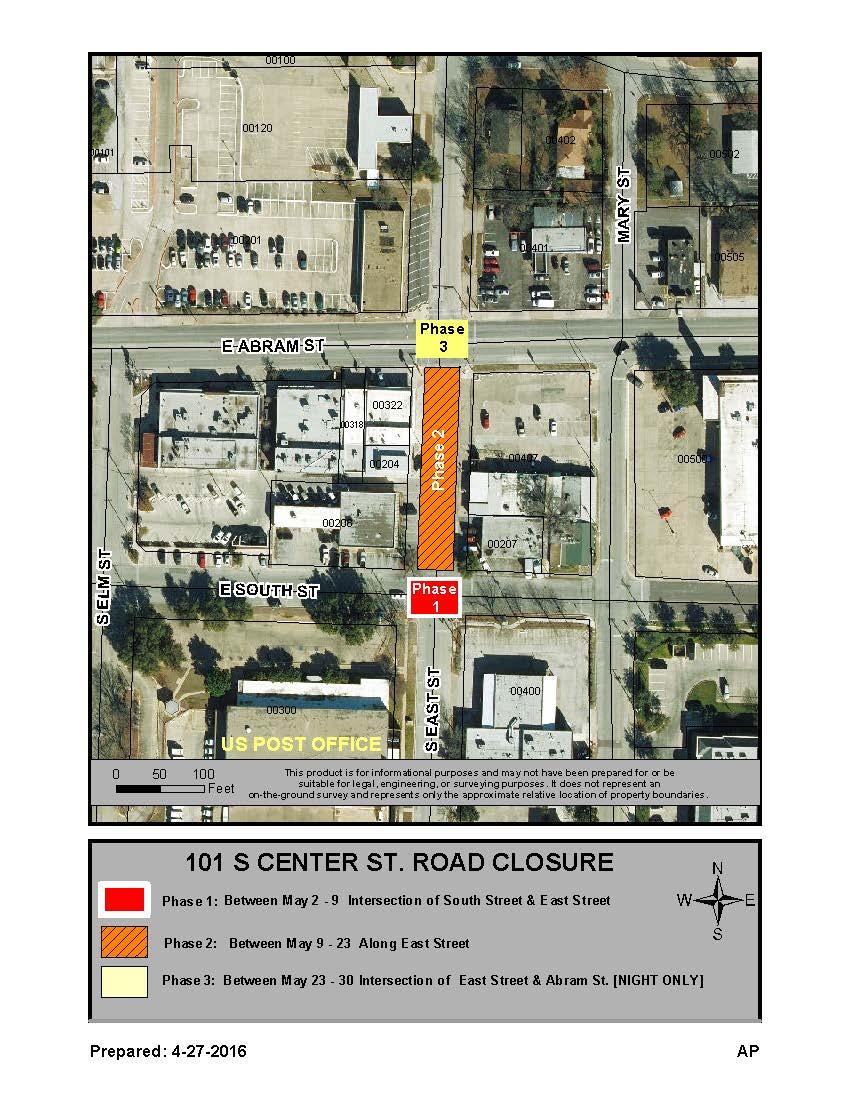 road closure in Downtown Arlington Texas