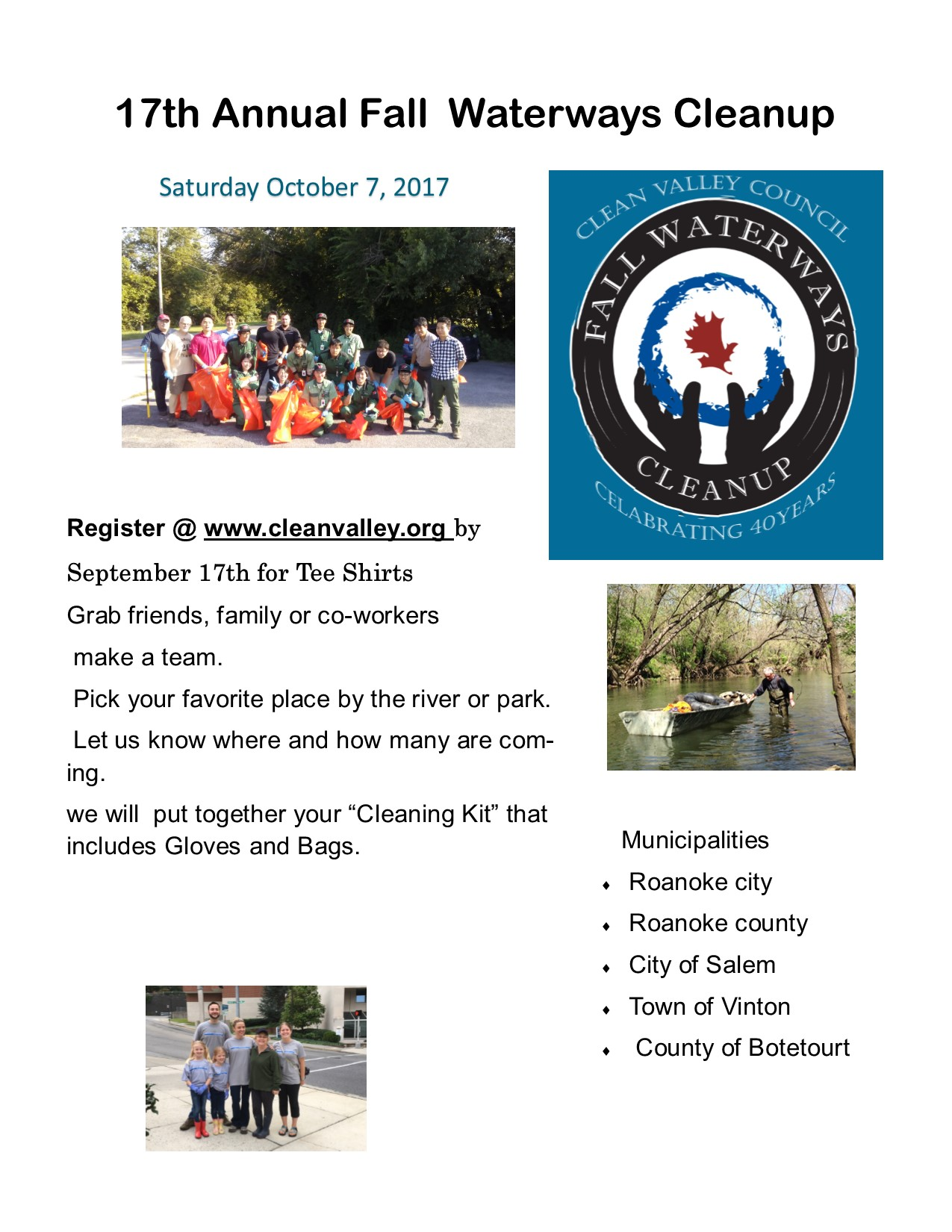 17th Fall Waterways Cleanup
